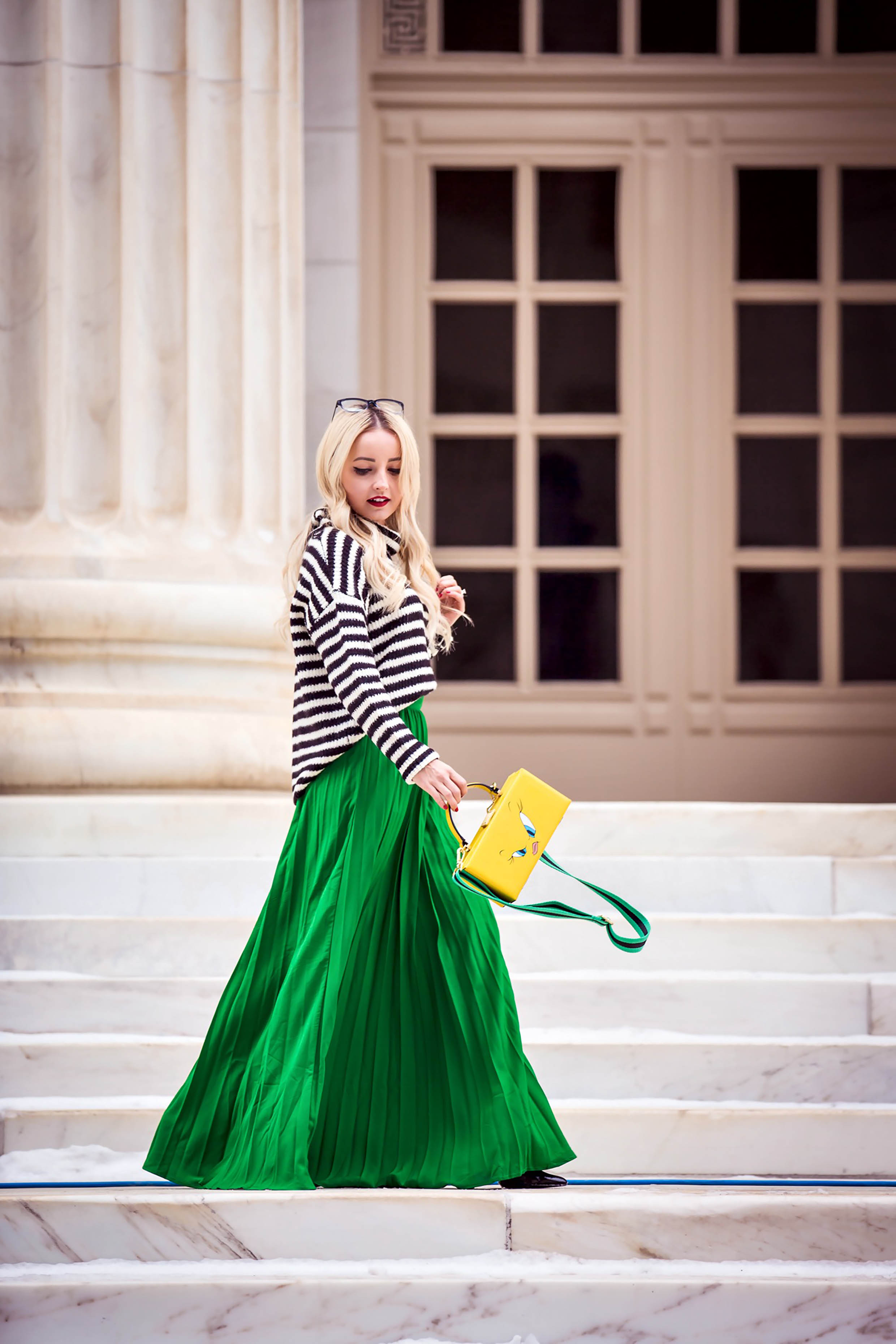 cb3875cac5 GREEN PLEATED MAXI SKIRT